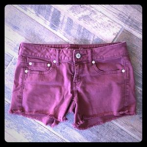 American Eagle Deep brick red denim shorts 6